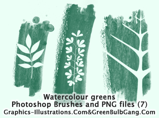 Photoshop Brushes - Watercolor Greens (7 brushes)