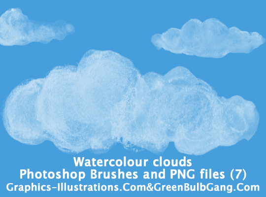Photoshop Brushes - Watercolor Clouds (7 brushes)