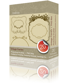 Vintage Frames Photoshop Brushes (20+20+20) + 20 PNGs