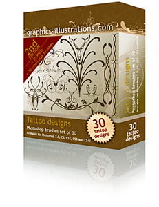 Tattoo Designs Photoshop brushes set Second Edition