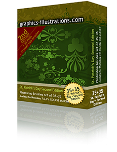 St. Patricks Day Photoshop Brushes set Second Edition (35+35)