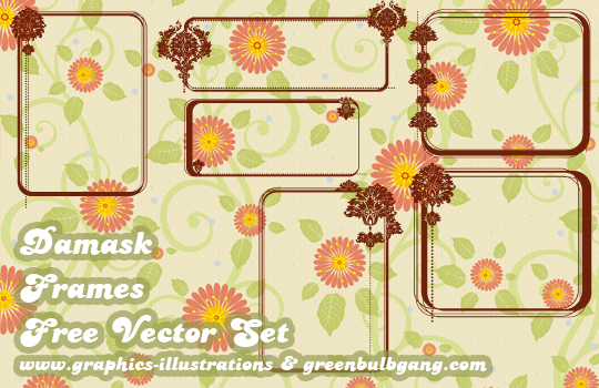 Free Damask Frames, Vector Set