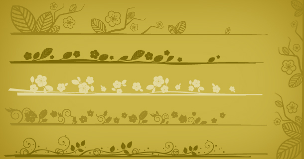 Elegant floral edges, Photoshop brushes set