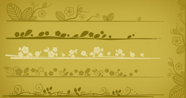 Elegant floral edges, Photoshop brushes set