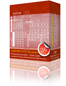 2012 Calendar Photoshop brushes set (3x12 - 36, US version) + 36 PNGs