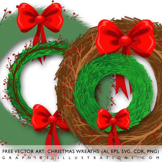 Free Vector Art: Chrismtas Wreaths