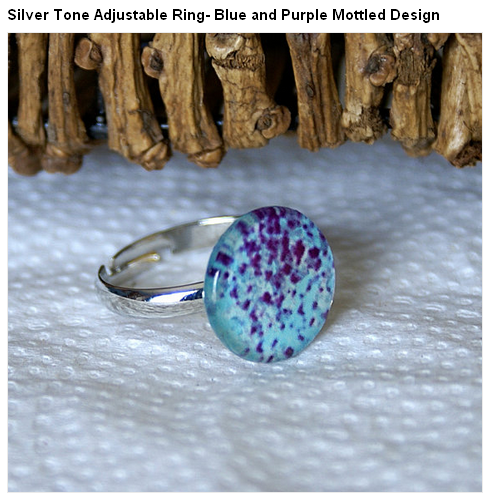 Silver Tone Adjustable Ring- Blue and Purple Mottled Design