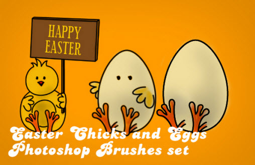 Easter Chicks And Eggs  - Photoshop Brushes