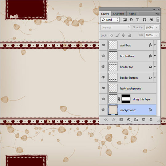 Scrapbook page opened in Photoshop - Layers