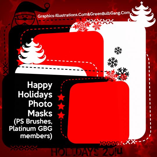 Happy Holidays (photomasks) Photoshop Brushes Set