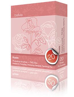 Roses Photoshop brushes set (20)